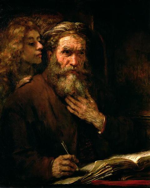 San Mateo y el Ángel de Rembrandt Harmenszoon van Rijn,  fue un pintor y grabador holandés. Este cuadro ilustra la inspiración concebida como dictado de Dios.