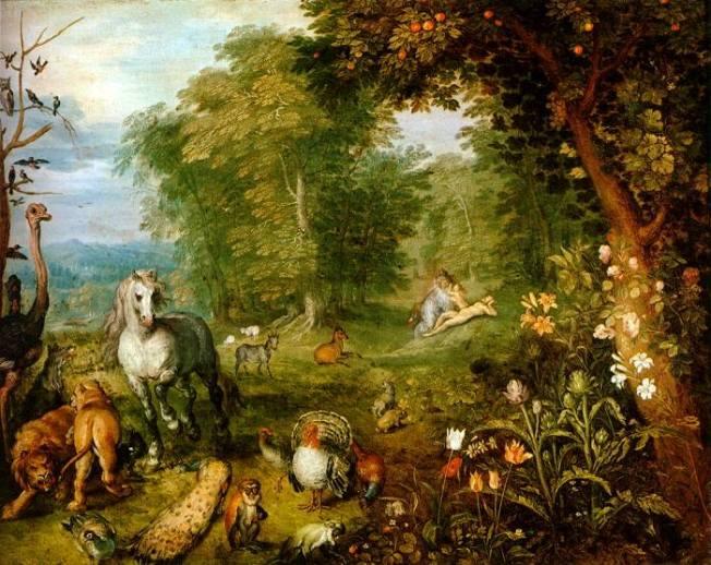 Paraíso, es la obra de Jan Brueghel the Elder (Holanda, 1568 - 1625), en su mayoría pintó paisajes (con y sin temas bíblicos), y fue muy alabado por el ornamento con pequeñas figuras. Esta interpretación del paraíso es muy idealizada o romántica si se prefiere, tras una primera escena con una variedad de animales y plantas tenemos a Adán y a Eva lejos del dolor, de la realidad.
